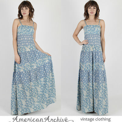 Vintage 70s India Ethnic Dress Blue Floral Boho Hippie Festival Tiered Maxi M