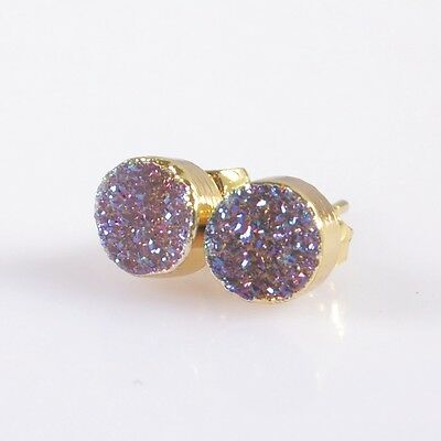 7mm Round Natural Agate Druzy Titanium AB Stud Earrings Gold Plated H95125