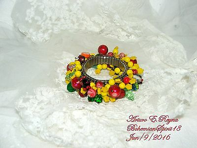 Arturo E.reyna  Fruit Salad Vintage Czech Glass Charms Expandable Bracelet