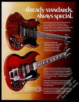1972 Gibson SG Standard and Special guitar color photo vintage print ad
