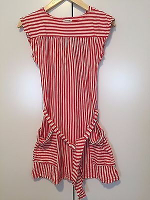Country Road girls bohemian Red White stripe dress size 12 As New