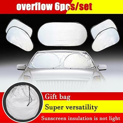 6pcs/set Car Window Sun Shade Foldable Windshield Full Shield Visor Block Cover~