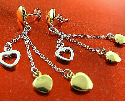 Earrings Drops Genuine Real 925 Sterling Silver S/f 18K Yellow Gold Heart Design