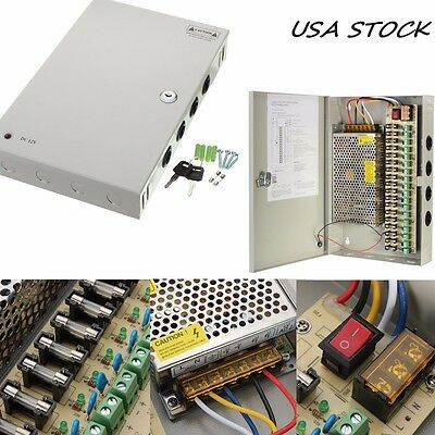 18CH Channel Power Supply Box for CCTV Camera Security Surveillance DC 12V 10A