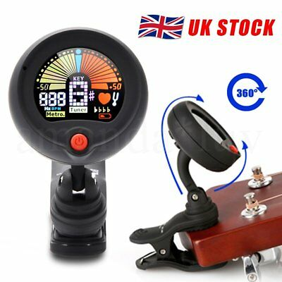 CLIP ON LCD Chromatic Acoustic Tuner Electric Guitar Bass Ukulele Banjo 3 Picks