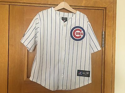 Chicago Cubs Majestic White Button Down Jersey Childs - Size: 7 (Kids Large)