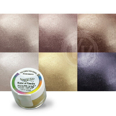 Rainbow Dust Silk Shimmer Dusts - Set of 6 - Lustre Food Powder Ivory Silver
