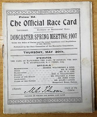 DONCASTER SPRING MEETING, 30th MAY 1907, OFFICIAL RACE CARD : HORSE RACING