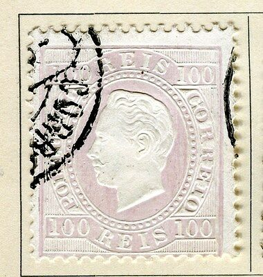 PORTUGAL;  1870 early classic Luis issue fine used 100r. value