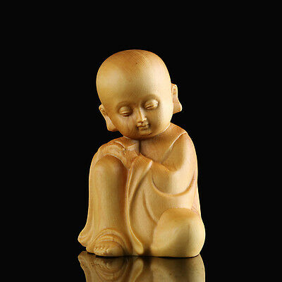 Sale  - 6.7*4.6*4.3 CM Hand Carved Boxwood Carving : Little Monk in Meditation
