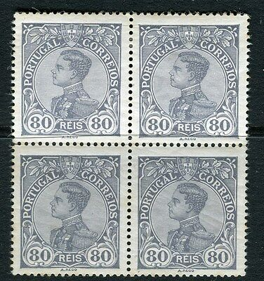 PORTUGAL;   1910 early Manoel issue Mint hinged 80r. BLOCK of 4