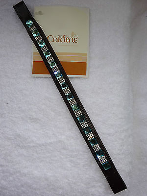 New ** Caldene Diamante Crystal Square Gem Brown Leather  Browband~Pony Size **