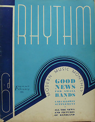 """Rhythm"" Feb 1934 UK dance band, jazz band magazine Art Deco cover"