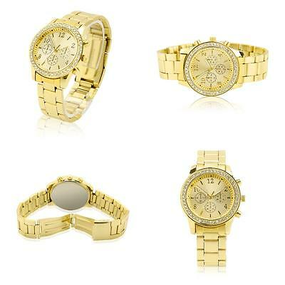 Gold With A Drill Wrist Watch Bracelet Crystal Diamond Girls Stainless Steel