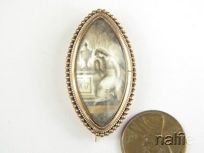 ANTIQUE ENGLISH GEORGIAN PERIOD 9K GOLD SEPIA MINIATURE MOURNING BROOCH c1790