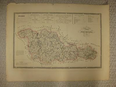 Huge Antique 1833 Moselle Metz France Handcolored Folio Size Map Superb Rare Nr