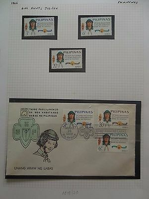Philippines 1966 Girl Scouts Silver Jubilee Sg 1018/20 Mnh Um + Fdc