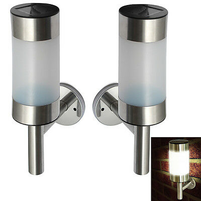 2 Pcs LED Wall Light Sconce Fixture Lamp Stainless Steel Outdoor Solar Powered