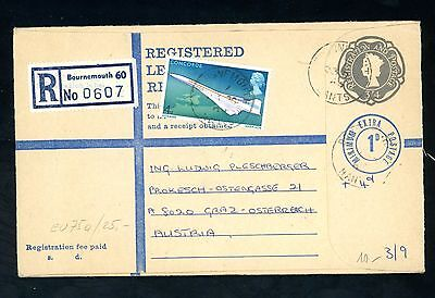 1969  3s 4d + 1d  Bournemouth Registered Cover to Austria  (J1617)
