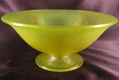 Antique Tiffin Vaseline Stretch Glass Footed Comport Bowl #179 Exc Cond