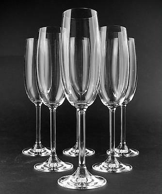 Set of Crystal 'Botticello' Champagne Flutes x 6 - BOXED