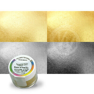 Rainbow Dust Gold and Silver Silk Metallic Lustre Dusts - Set of 4 - Cake Powder