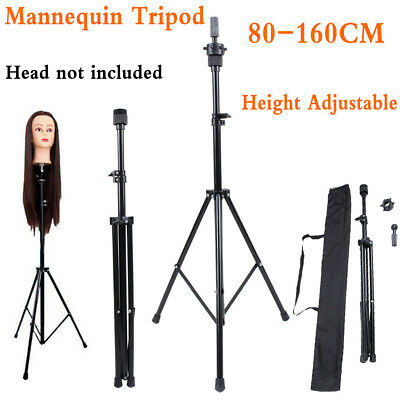 Adjustable Mannequin Head Tripod Stand Hairdressing Training Stool Trolley Cart