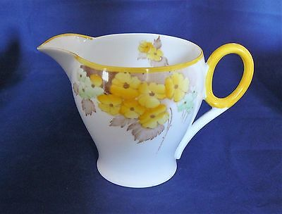 "SHELLEY China  CAMBRIDGE shape - CREAM / MILK JUG -  ""Yellow Phlox"" pattn -  Vgc"