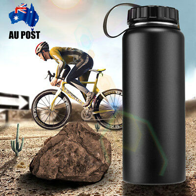 1L/1000ML Insulated Vacuum Wide Mouth Drink Water Bottle Outdoor Travel Camp AU