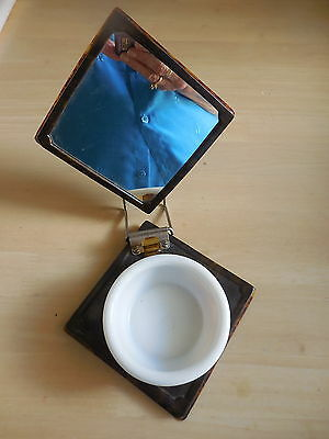 Antique Vintage Shaving Mug On Stand With Mirror