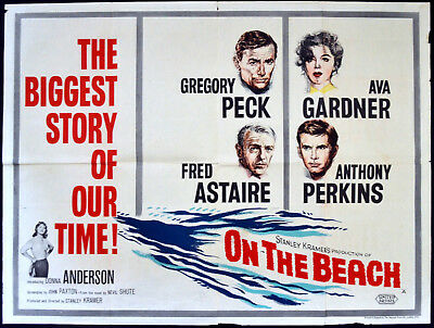 ON THE BEACH 1959 Gregory Peck, Ava Gardner, Fred Astaire UK QUAD POSTER