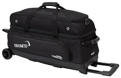 Ebonite Transport 3 Ball Roller Bowling Bag with Retractable Handle Color Black