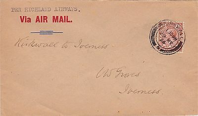 Gb : Highland Airways First Air Mail Flight Cover, Kirkwall To Inverness (1934)