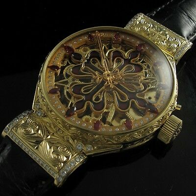 Vintage Patek Philippe Geneva Swiss Men's Wrist Watch Skeleton Gold Mens Watches