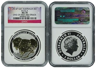 2014 P Australia Silver Gilt/Gilded Koala NGC MS70 One of first 500 Struck Flag