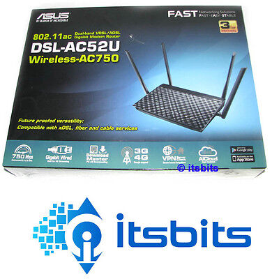 Asus Dsl-Ac52U Ac750 Dual Band Wireless Vdsl Adsl Gigabit Modem Router 3G/4G