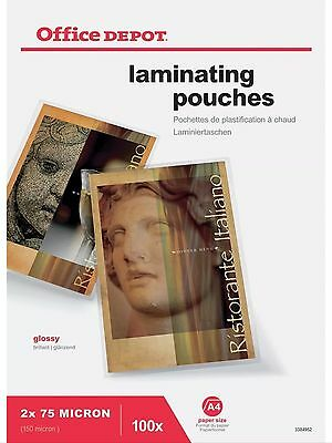 Office Depot A4 Laminating Pouches 150 Micron Pack 100 Sheets / Pouches