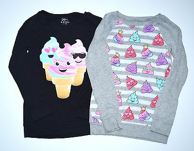Justice Girls 8 Ice Cream Emoji Lightweight Sweater Knit Top Lot JW1