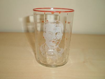 1940s Wartime Staline 'Uncle Joe' Portrait Etched Small Glass