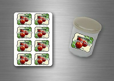 8/24/48/96x sticker labels tomato jar jam preserves juice puree sauce homemade