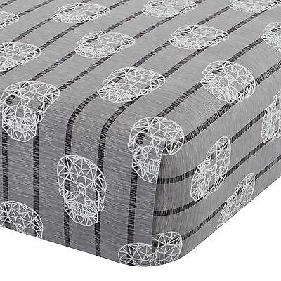 Skulls Double Fitted Sheet Grey