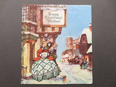 Vintage Christmas Greetings Card 1950s Regency Couple Crinoline Lady Snowy