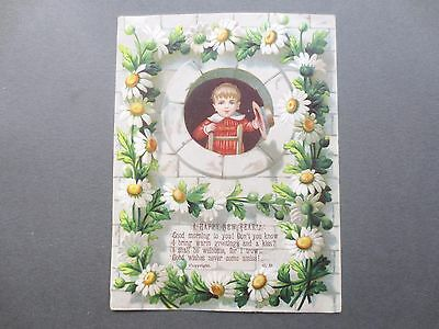 Antique  NEW YEAR Card Embossed Daisies Little Boy Hat Victorian Chromo Litho