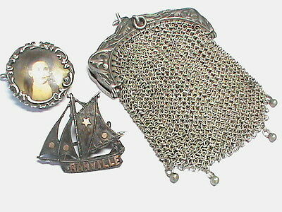 Victorian Antique French Silver Purse chain mail Locket Brooch Ship LOT