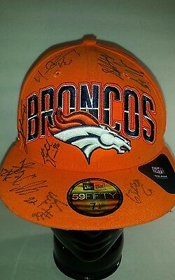 """AUTOGRAPHED DENVER BRONCOS HAT 59fifty,7 1/4"""",Keith Bishop Various players NFL"""