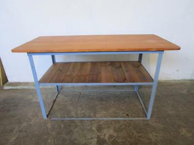 D20066 Industrial Metal Timber Bar Workbench Kitchen Island Bench