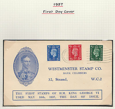 1937 GEORGE VI ILLUSTRATED FIRST DAY COVER 1st 3 VALUES LONDON CANCEL