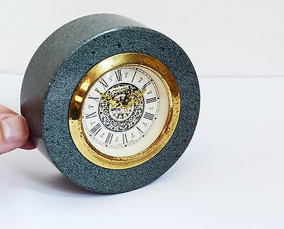 Weighty Vintage MERCEDES Wind Up Clock with Chunky Real Slate Surround. Germany