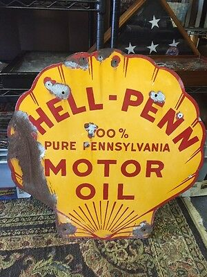 RARE Vintage 1930s Original SHELL PENN MOTOR OIL Gas Station Pump Porcelain Sign