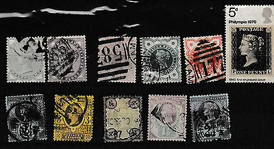 GB Victoria - 10 used definitives +  QE2 - SG832 Philympia 1970 5d
